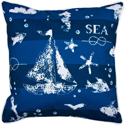 Nautical Blue Sea Mix Throw Pillow