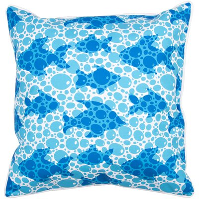 Coastal Blue Fish Bubbles Throw Pillow
