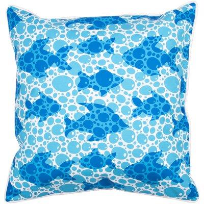 Coastal Blue Fish Bubbles Throw Pillow