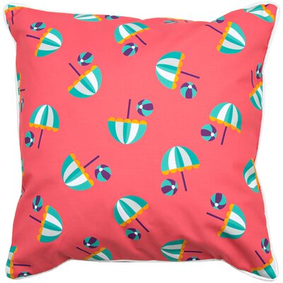 Coastal Umbrellas and Beach Balls Throw Pillow