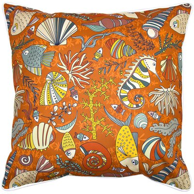 Coastal Sea Life Rust Throw Pillow