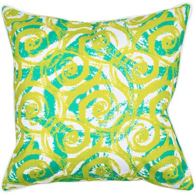 Modern Swirls Throw Pillow Color: Lime/Aqua/White