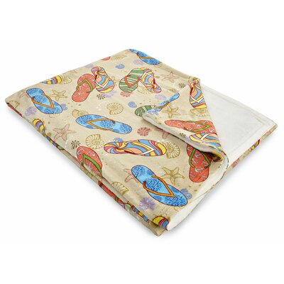 Coastal Beach Flip Flops Fleece Throw Blanket