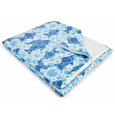 Coastal Blue Fish Bubbles Fleece Throw Blanket