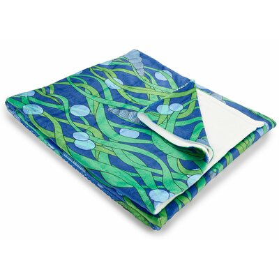 Coastal Green Seaweed Fleece Throw Blanket