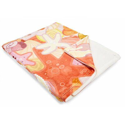 Coastal Sea Life Pastel Fleece Throw Blanket