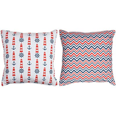 Captains Key Lighthouse and Chevron Throw Pillow