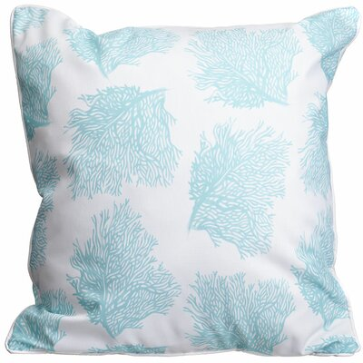 Coastal Sea Fan Aqua Throw Pillow