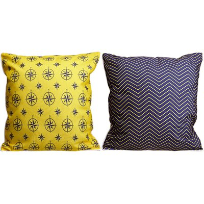 Duck Key Compass Chevron Throw Pillow Color: Yellow