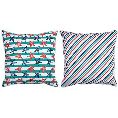 Sanibel Starfish and Stripes Throw Pillow