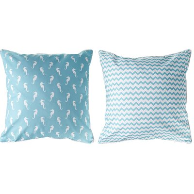 Marathon Seahorse and Chevron Throw Pillow