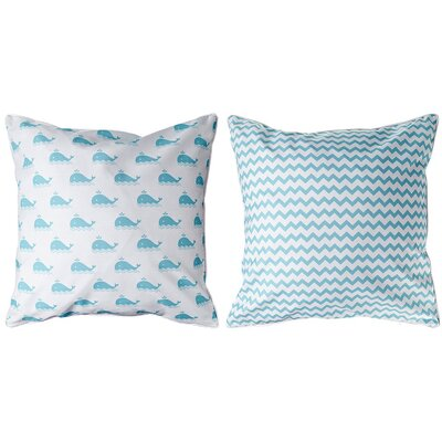 Marathon Whale and Chevron Throw Pillow