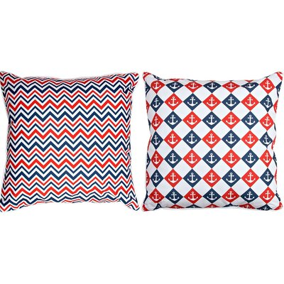 Captains Key Anchor and Chevron Throw Pillow