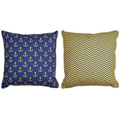 Duck Key Anchors and Chevron Throw Pillow