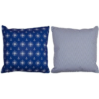 Big Pine Compass Rose Navy & Chevron Throw Pillow