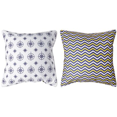 Duck Key Compass Chevron Throw Pillow Color: White