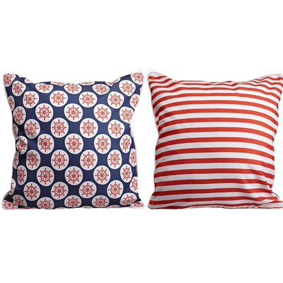 Captains Key Ships Wheel and Stripes Throw Pillow