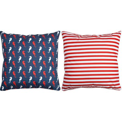 Captains Key Seahorse and Stripes Throw Pillow