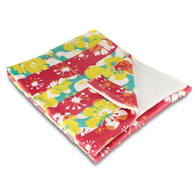 Tropical Island Flowers Fleece Throw Blanket