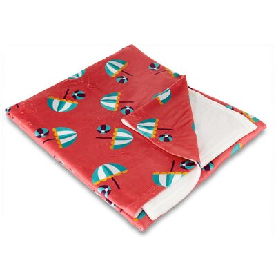 Coastal Umbrella and Beach Balls Fleece Throw Blanket IGH-THR35
