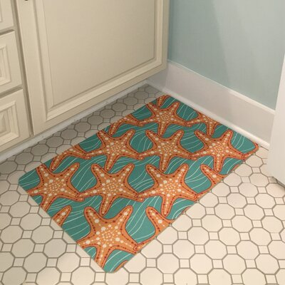 Coastal Starfish in Waves Floor Mat