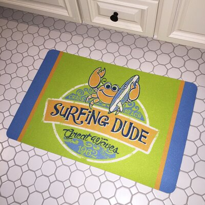 Surfer Crab Surfing Dude Floor Mat