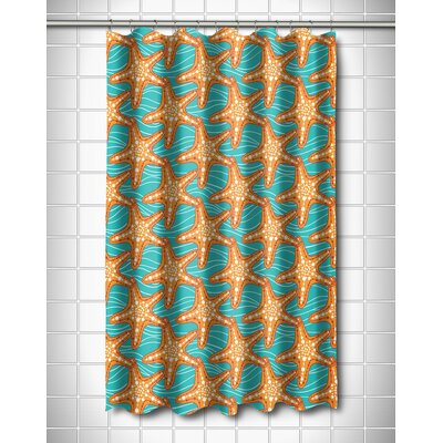 Coastal Starfish in Waves Shower Curtain