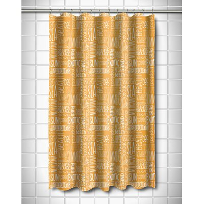 Coastal Beach Vacation Words Shower Curtain Color: Yellow