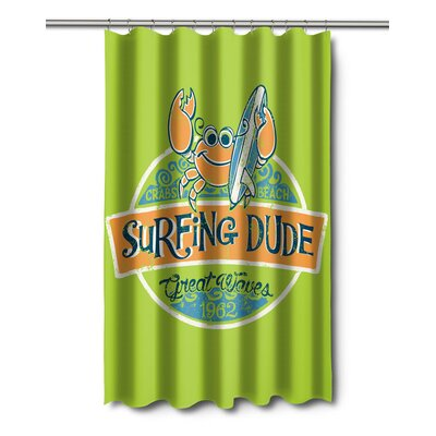 Surfer Crab Surfing Dude Shower Curtain