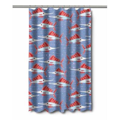 Coastal Sailfish School Coral Shower Curtain