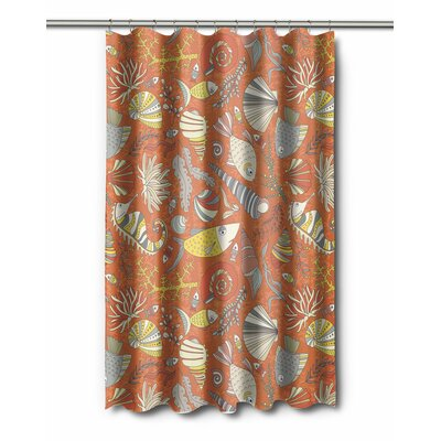 Coastal Sea Life Rust Shower Curtain