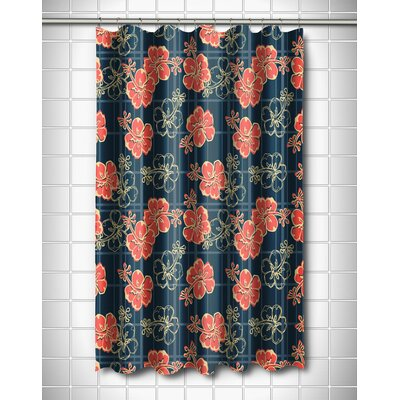 Tropical Hibiscus Plaid Shower Curtain