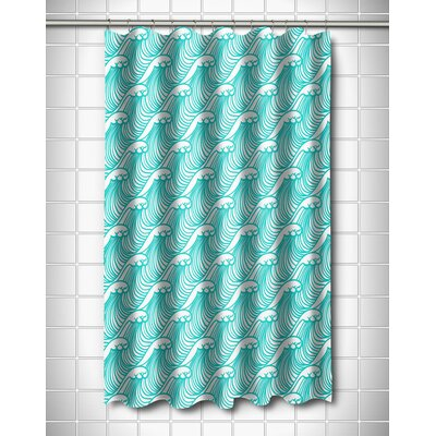 Coastal Wave Hello Shower Curtain Color: Aqua