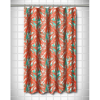 Tropical Palm Springs Coral Shower Curtain