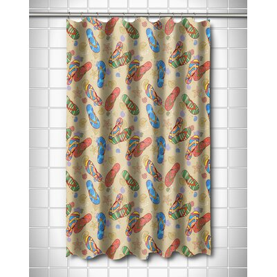 Coastal Beach Flip Flops Shower Curtain