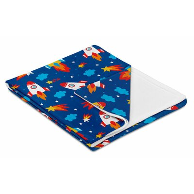 Kids Rocket Ship Throw Blanket