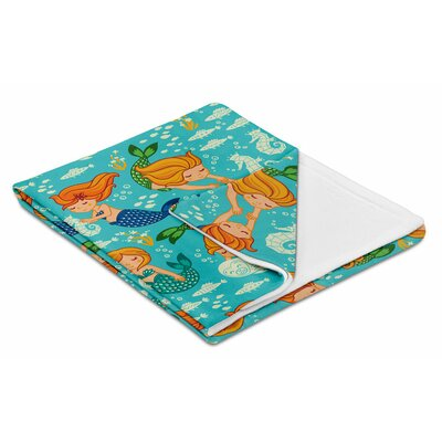 Kids Playful Mermaids Throw Blanket