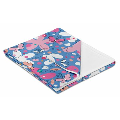 Kids Butterflies and Flowers Fleece Throw Blanket