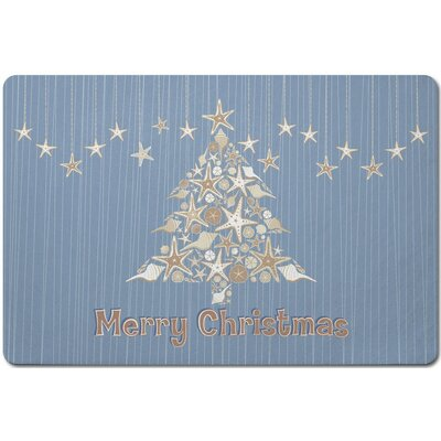 Holiday Seashell Christmas Tree Doormat