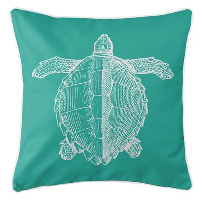 Vintage Coastal Sea Turtle Throw Pillow Color: Aqua