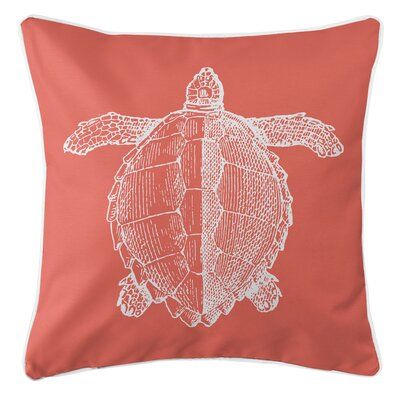 Vintage Coastal Sea Turtle Throw Pillow Color: Coral