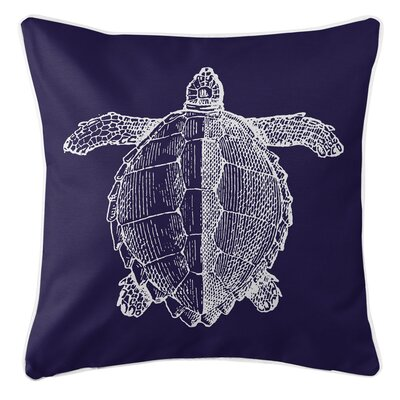 Vintage Coastal Sea Turtle Throw Pillow Color: Navy