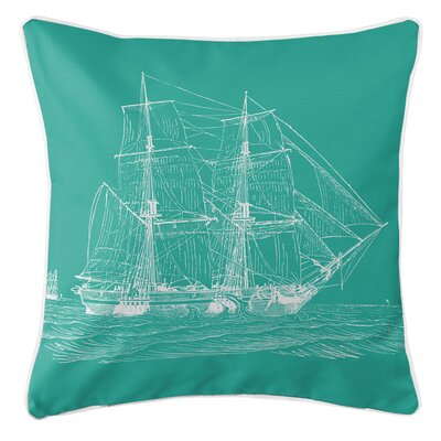 Vintage Coastal Ship Throw Pillow Color: Aqua