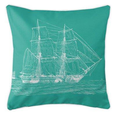 Vintage Coastal Ship Throw Pillow Color: Aqua