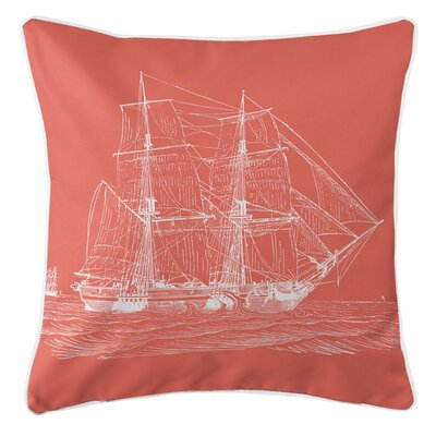 Vintage Coastal Ship Throw Pillow Color: Coral