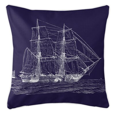 Vintage Coastal Ship Throw Pillow Color: Navy