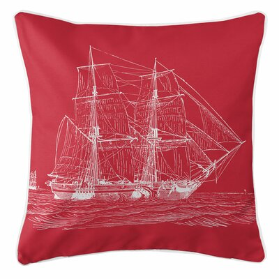 Vintage Coastal Ship Throw Pillow Color: Red