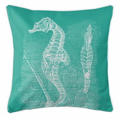 Vintage Coastal Seahorse Throw Pillow Color: Aqua