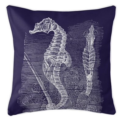 Vintage Coastal Seahorse Throw Pillow Color: Navy