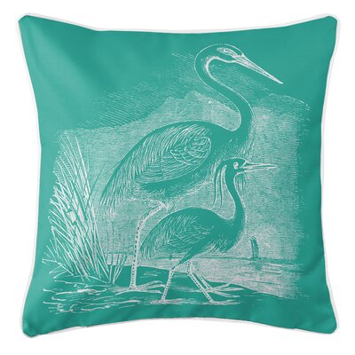 Vintage Coastal Egrets Throw Pillow Color: Aqua